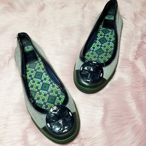Tory Burch Channing Navy and Green Flats